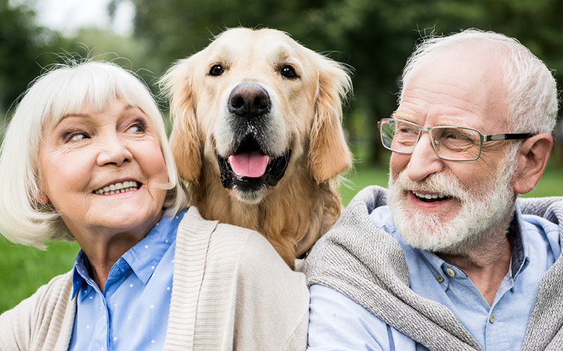 Retired couple feeling happy with their dog outside