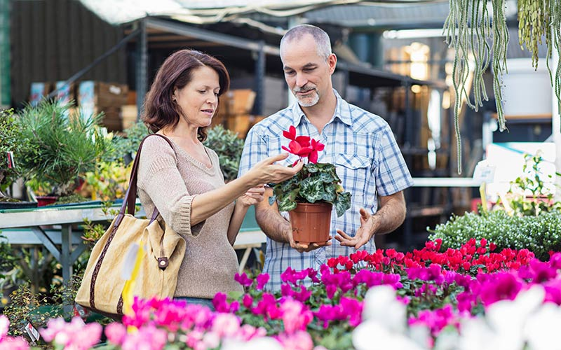 Couple buying a plant at the farmers market