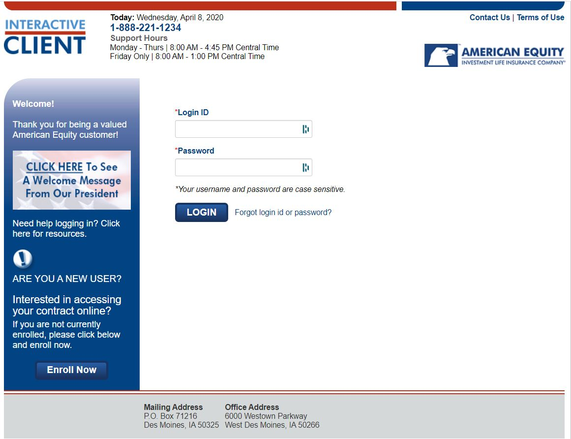 Screenshot image of the American Equity Client Log In page
