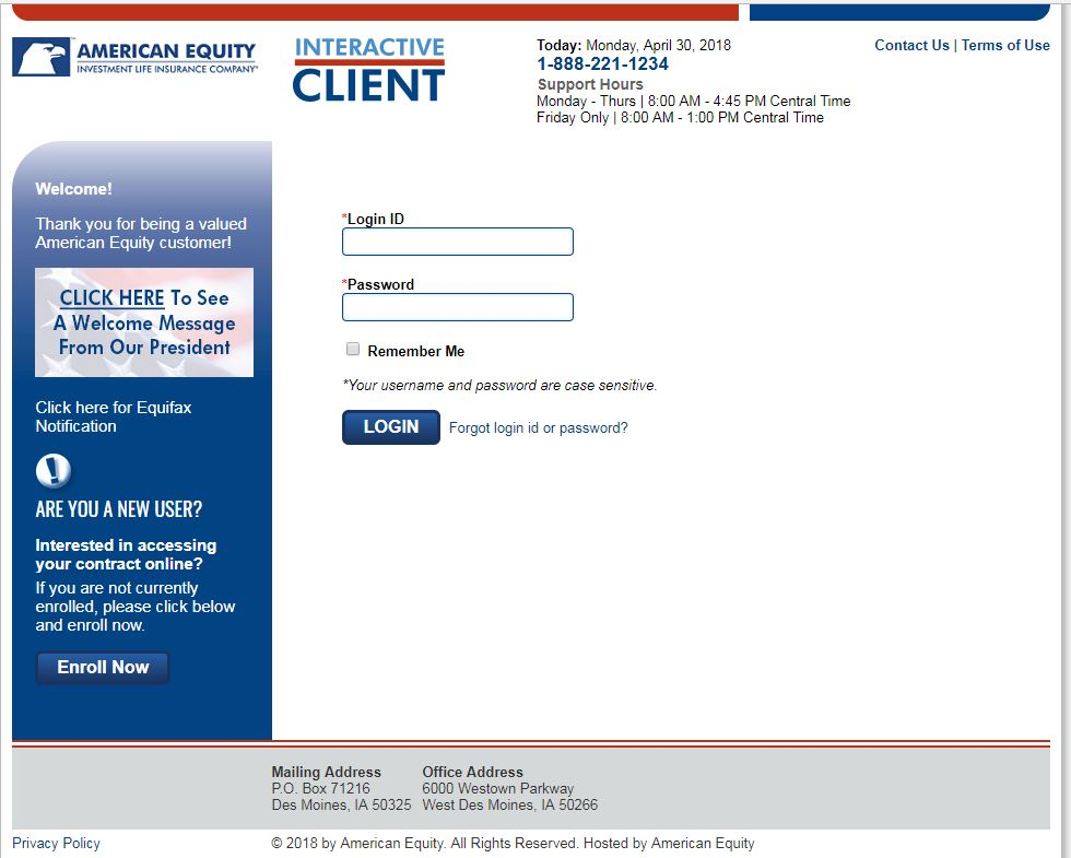 American Equity Client Website